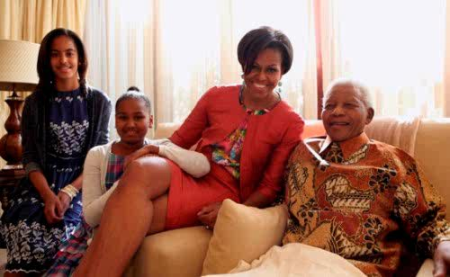 Mrs O & daughters with Tata Madiba